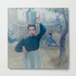 The Little Village Girl with Red Carnation Metal Print