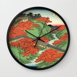Hiroshige Temple & Mountains Wall Clock