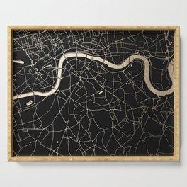 London Black on Gold Street Map II Serving Tray