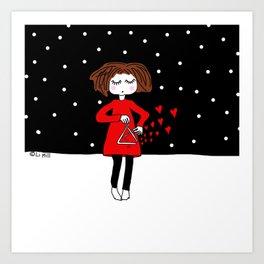 She just keeps spreading love.. Art Print