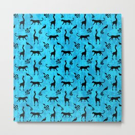 Animal kingdom. Black silhouettes of wild animals. African giraffes, leopards, cheetahs. snakes, exotic tropical birds. Tribal primitive ethnic nature blue grunge distressed pattern. Metal Print