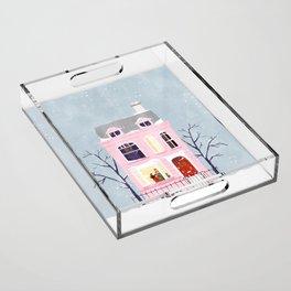 Xmas house Acrylic Tray