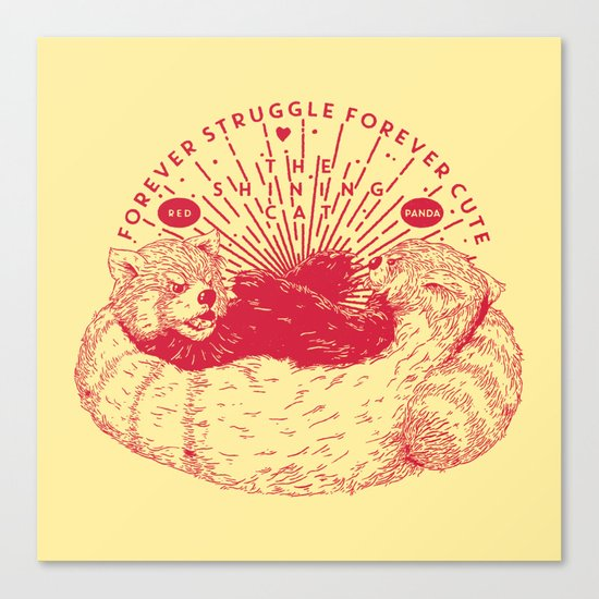 Red Panda Struggle Canvas Print