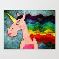 Rainbow Hair Unicorn Canvas Print
