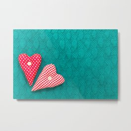 saint valentine green textured knitted background with hearts Metal Print
