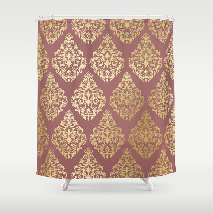 Burgundy Rose Gold Elegant Damasque Shower Curtain