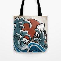 hokusai Tote Bags featuring Hokusai comic by Nxolab