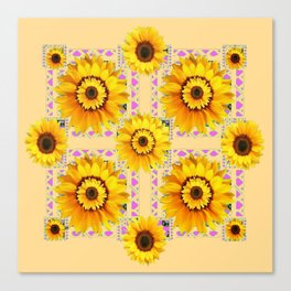 CREAM COLOR WESTERN STYLE YELLOW SUNFLOWERS Canvas Print