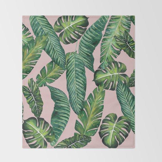 Jungle Leaves, Banana, Monstera II Pink #society6 by wheimay