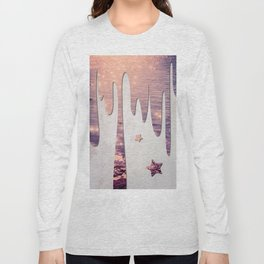 Glittery Purple Ocean Dripping on Grunge White Wall Long Sleeve T-shirt