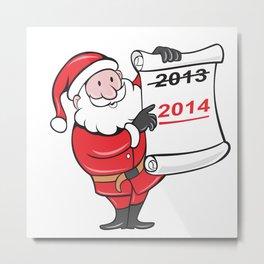 New Year 2014 Santa Claus Scroll Sign Metal Print