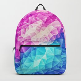 Pink - Ice Blue / Abstract Polygon Crystal Cubism Low Poly Triangle Design Backpack