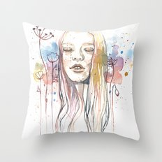 Meditation, watercolor  Throw Pillow