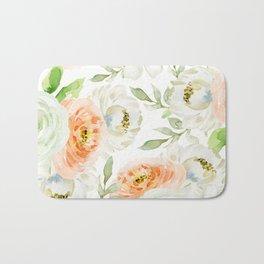 Big Peach and White Flowers Bath Mat