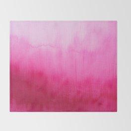 Modern fuchsia watercolor paint brushtrokes Throw Blanket
