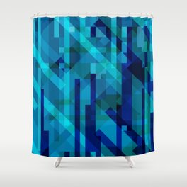 abstract composition in blues Shower Curtain