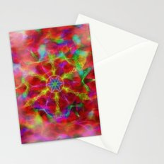 Vibrant kaleidoscope in red mist Stationery Cards