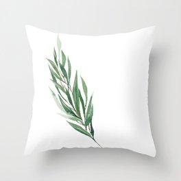 Eucalyptus branch in watercolor Throw Pillow