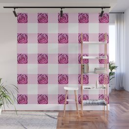 Pink Rose Check Pattern Wall Mural