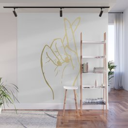 Fingers Crossed in Gold Wall Mural