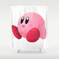 kirby Shower Curtains featuring Kirby by Sharna Myers