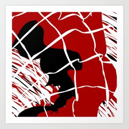 Black Red Net Cages and Splatter Abstract Art Art Print