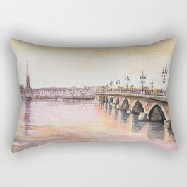 Bordeaux sunset watercolor painting Rectangular Pillow