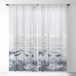 Mountains 2 - Gold Colored Lines Sheer Curtain