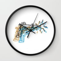 top gun Wall Clocks featuring Gun by Marcelo Romero