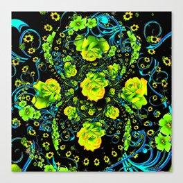 YELLOW ROSE & BLUE RIBBONS ON BLACK ART Canvas Print