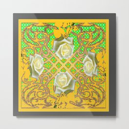 GOLDEN WHITE ROSE GARDEN TAPESTRY ART Metal Print