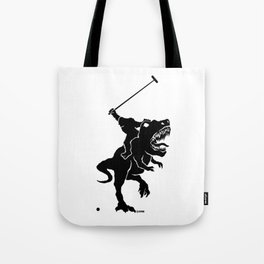 Big foot playing polo on a T-rex Tote Bag