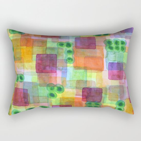 Red Bungalows and Trees Rectangular Pillow
