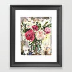 Pink Flowers in mason jar Framed Art Print