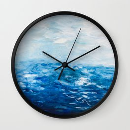 Paint 10 abstract water ocean seascape modern painting dorm room decor affordable stretched canvas Wall Clock
