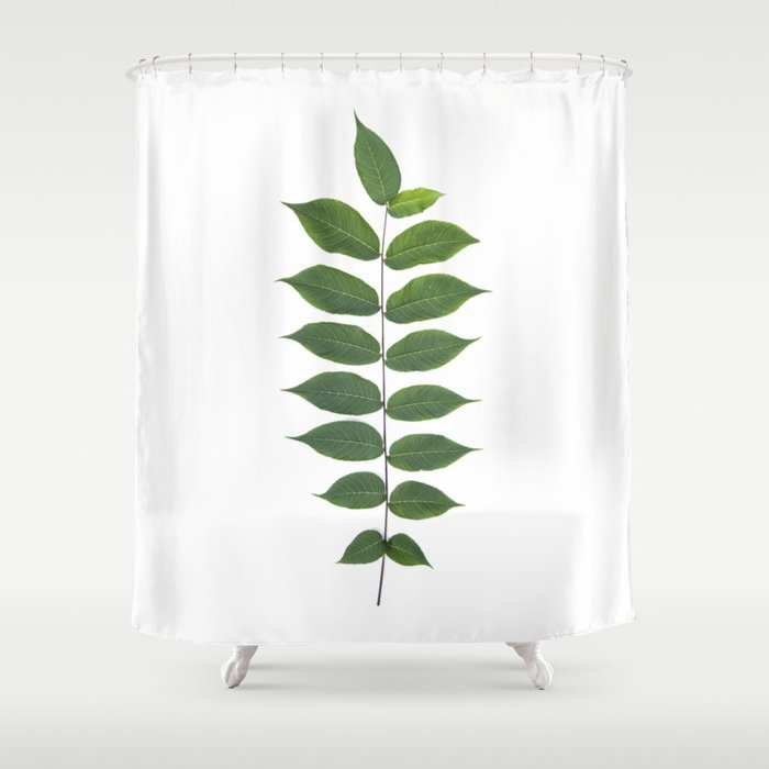 Green Leaf Botanical Print Shower Curtain By Wildpoetry