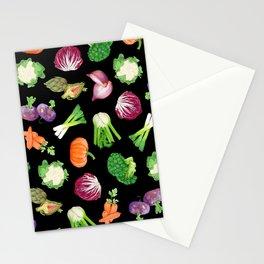 Black veggies pattern | Vegetables illustration pattern Stationery Cards