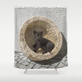 Black kitten in Portugal Shower Curtain