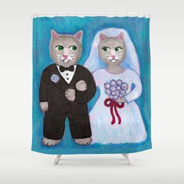 Bride and Groom Cats Shower Curtain