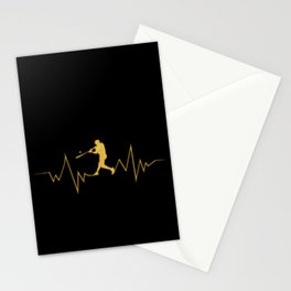 Baseball Heartbeat design Cool Gift for Sport Lovers Stationery Cards