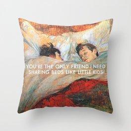 Sharing Beds Throw Pillow