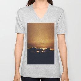 sundown at Breezy Point New York Unisex V-Neck