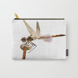 Dragonfly Resting On Seed Head Isolated Carry-All Pouch