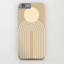 Mid Century Modern Geometric 45 in Beige (Rainbow Sun Abstraction) iPhone Case