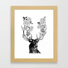 The Stag and Roses | Black and White Framed Art Print