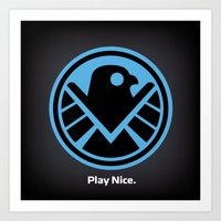 agents of shield Art Prints featuring Friendly New SHIELD by Arne AKA Ratscape