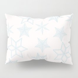 Light Blue Snowflakes On White Background Pillow Sham