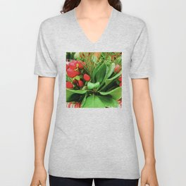 Christmas Red Berries and Pine Tree Branches Unisex V-Neck