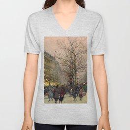Les Grands Boulevards, Paris by Eugene Galien Laloue Unisex V-Neck