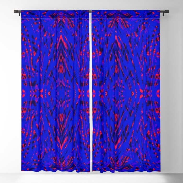 blue on red symmetry Blackout Curtain